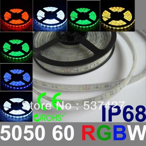 IP68 Водонепроницаемый RGBW СВЕТОДИОДНЫЕ Полосы Света Epistar Чип 5050 60 LED/Метр 2 Года гарантии CE, RoHS Сертифицирована, 5 М + 1 Контроллер/Pack