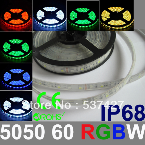 IP68 Waterproof RGBW LED Strip Light Epistar Chip 5050 60 LED/Meter 2 Years warranty CE RoHS Certified, 5 Meter+1 Controler/Pack