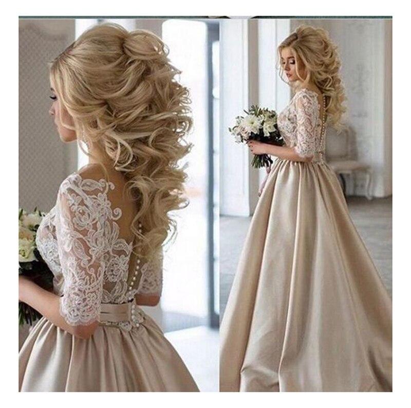 SoDigne Lace Appliques Wedding Dresses 2019 New Design Illusion Back Bride Dress Elegant Wedding Gowns White/Lvory Bridal Gown