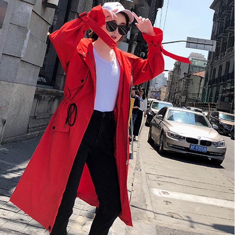 2019 Korean Loose Long Windbreaker Women Drawstring Slim Large Size Lady Spring Autumn Fashion Full Sleeve Hooded   Trench   Coats