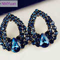 2017 new natural stone fashion black blue big earrings jewelry Brincos gold earrings girl summer style pendientes
