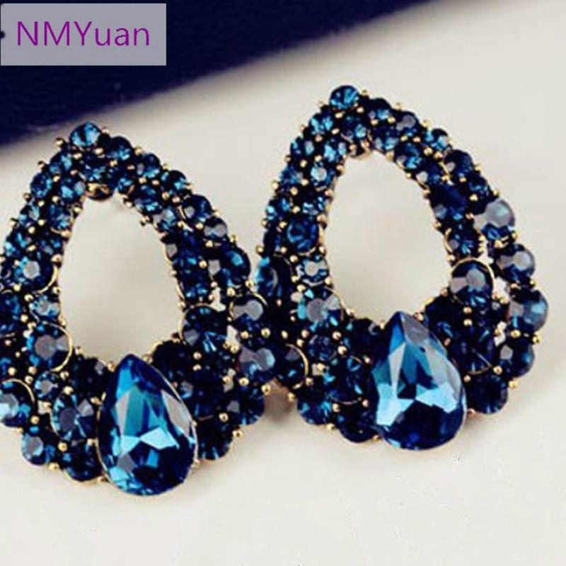 2017 new natural stone fashion black blue big earris