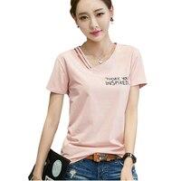 T Shirt Women Letter Print Summer Tops 2017 Tshirt Cotton Asymmetrical V Neck Womens T Shirt