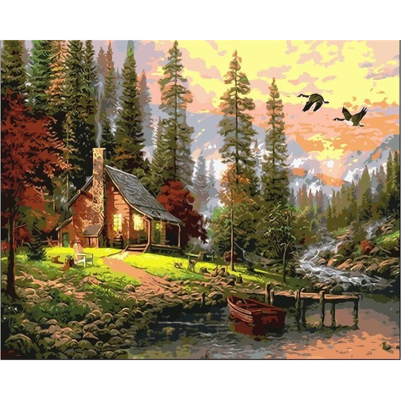 DIY Oil Painting By Numbers No Frame Drawing Kits Paint On Canvas Painting font b Home