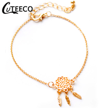 CUTEECO New Gold Color Pendant Charm Bracelets & Bangles With Moon Cross Key Heart Beads Handmade Chain Bracelet Women Jewelry thailand imports genuine gv new moon key pendant