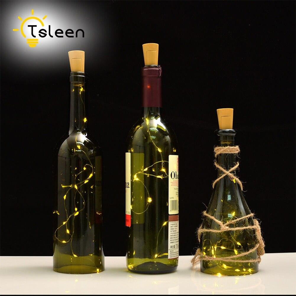 Tsleen 10 шт. DIY пробковые Строка <font><b>LED</b></font> бутылки вина Фиксаторы серебро Фея полосы Провода Открытый Свадебная вечеринка украшения Освещение