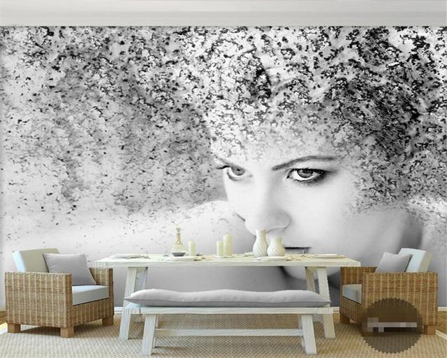 Uitzonderlijk Beibehang Aangepaste foto wallpaper mooie zwart wit art abstracte @SA46