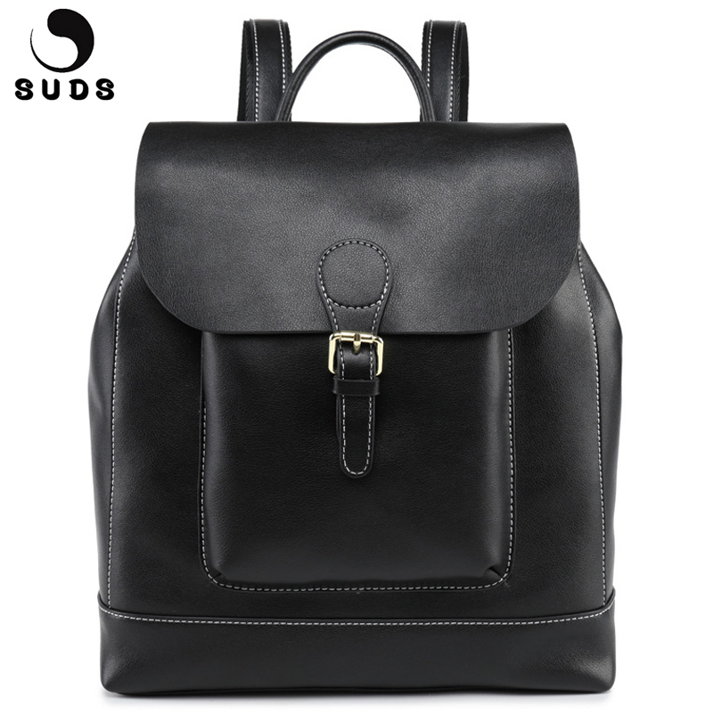 SUDS Brand Women Genuine Leather Backpack Large Capacity Multifunction Female Travel Shoulder Bagpack Cow Leather Mochilas Mujer suds brand women casual 100