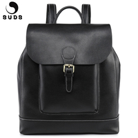 SUDS Brand Women Genuine Leather Backpack Large Capacity Multifunction Female Travel Shoulder Bagpack Cow Leather Mochilas Mujer