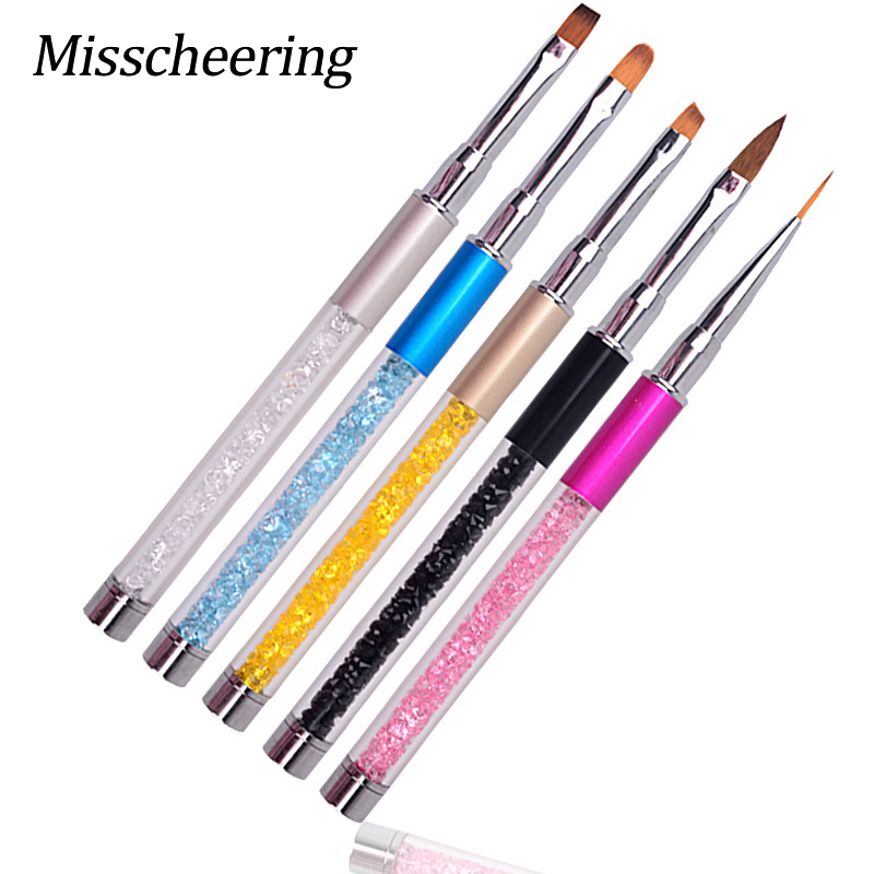 Baru 1pcs Profesional Nail Art Design Brush Pen Drawing Lines Painting Ukiran Gradient UV Gel Salon Beauty Nail Tools