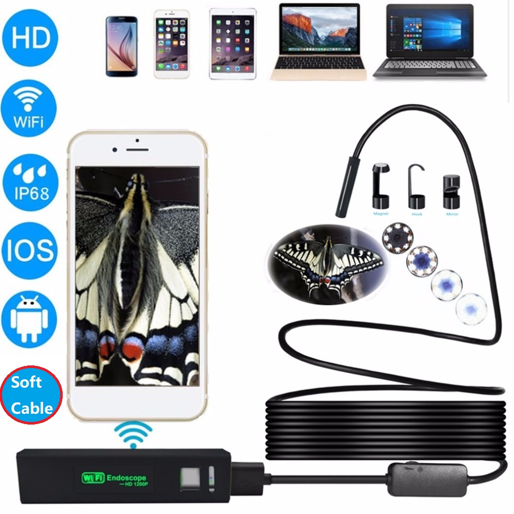 LESHP HD 1200P Wireless WiFi Endoscope Waterproof Soft Wire Inspection Camera 8mm Lens 8LED Borescope For IOS & Android PC+gift zwn wifi endoscope hd 1200p waterproof hard wire usb inspection mini camera with 8mm lens and 8 led borescope for android ios pc