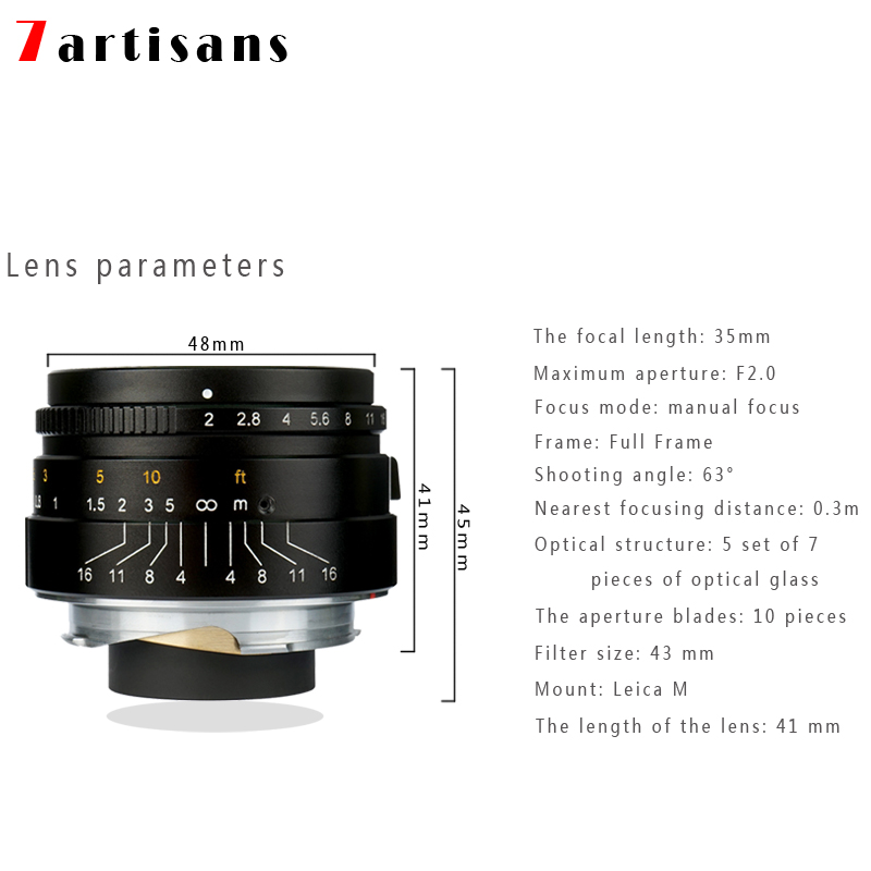 Original 7artisans 35mm F2 Large Aperture Manual Fixed <font><b>Lens</b></font> for Leica M-M Mount M240 M3 M5 M6 M7 M8 M9 M9P M10 Camera image