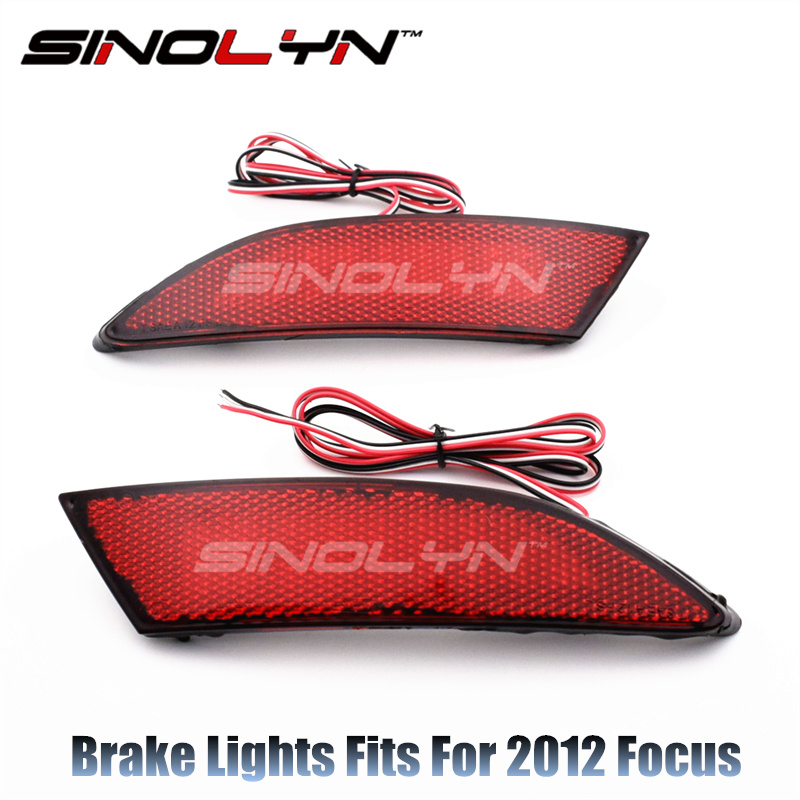 Sinolyn Fit For Focus 2012 LED Red Rear Bumper Reflectors Light Brake Parking Warning Night Running Tail Lights Car Accessories 2pcs red rear bumper reflectors light brake parking warning night runing tail lamps led for honda odyssey 2007