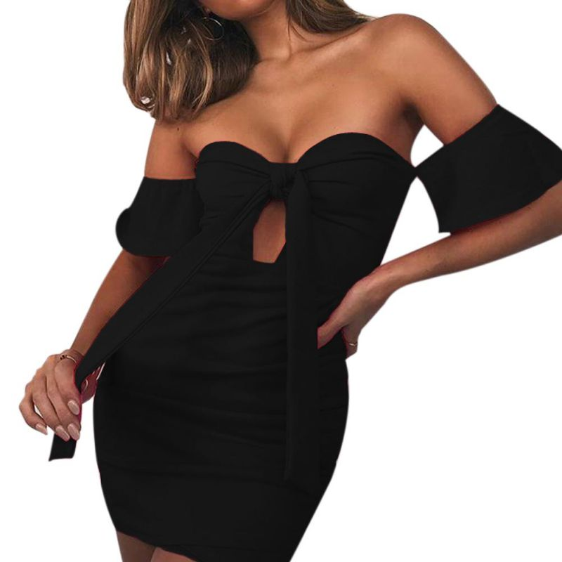 New Women Bodycon Mini Dress Summer 2018 Sexy Off Shoulder Female Dress With Open Back Hollow Out Lace Up Women Dresses Vestidos