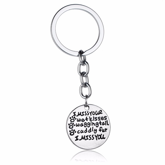 Pet Paws Claw Prints Keyring Animals Memorial Keychain I Miss Your Wet  Kisses Women Men Key 53f15c6a9