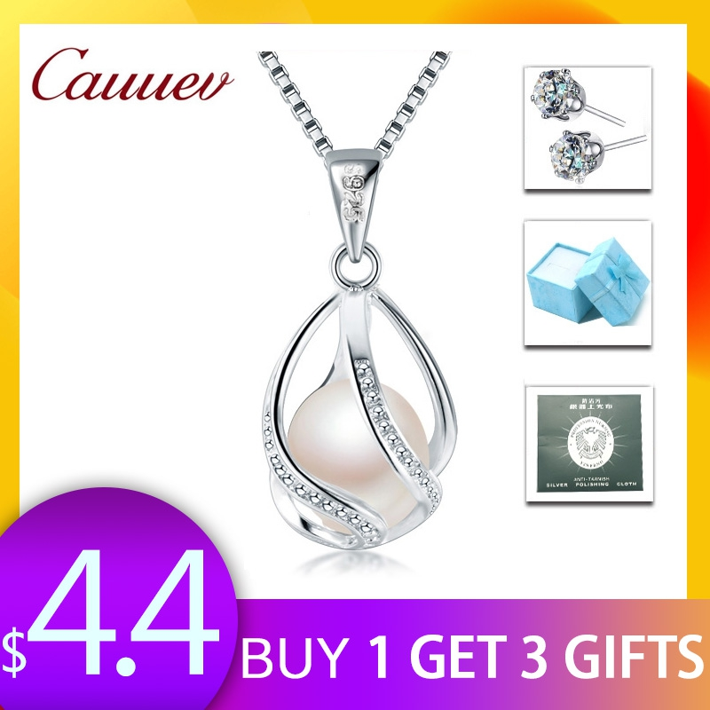 Cauuev genuine 100% Natural freshwater  Pearl Jewelry Hot Selling 925 Sterling Silver Pendant Necklace gift For Women Female JewCauuev genuine 100% Natural freshwater  Pearl Jewelry Hot Selling 925 Sterling Silver Pendant Necklace gift For Women Female Jew