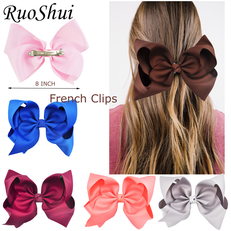 25pcs/lot 8 Inch Big Large Grosgrain Ribbon Hair Bow Clip High Quality Barrette BowsKnot Women Girls Hairpins Hair Accessories
