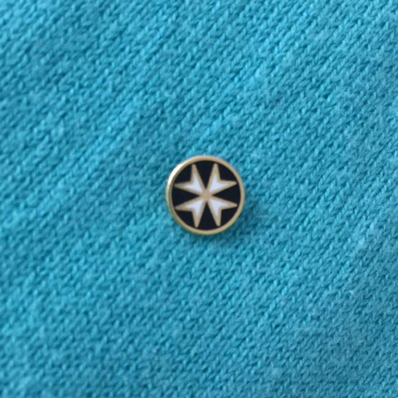 50pcs 8mm Black Maltese Cross Crusader Order Knight Small Size Round Shape Masonic Lapel Pin the