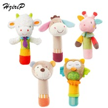 HziriP Nya Rattles Gullig Cartoon Plush Toy BB Stick Rattle Babyleksaker Animal Giraff Bear Owl Soft Infant Juguetes Bebe Gåvor