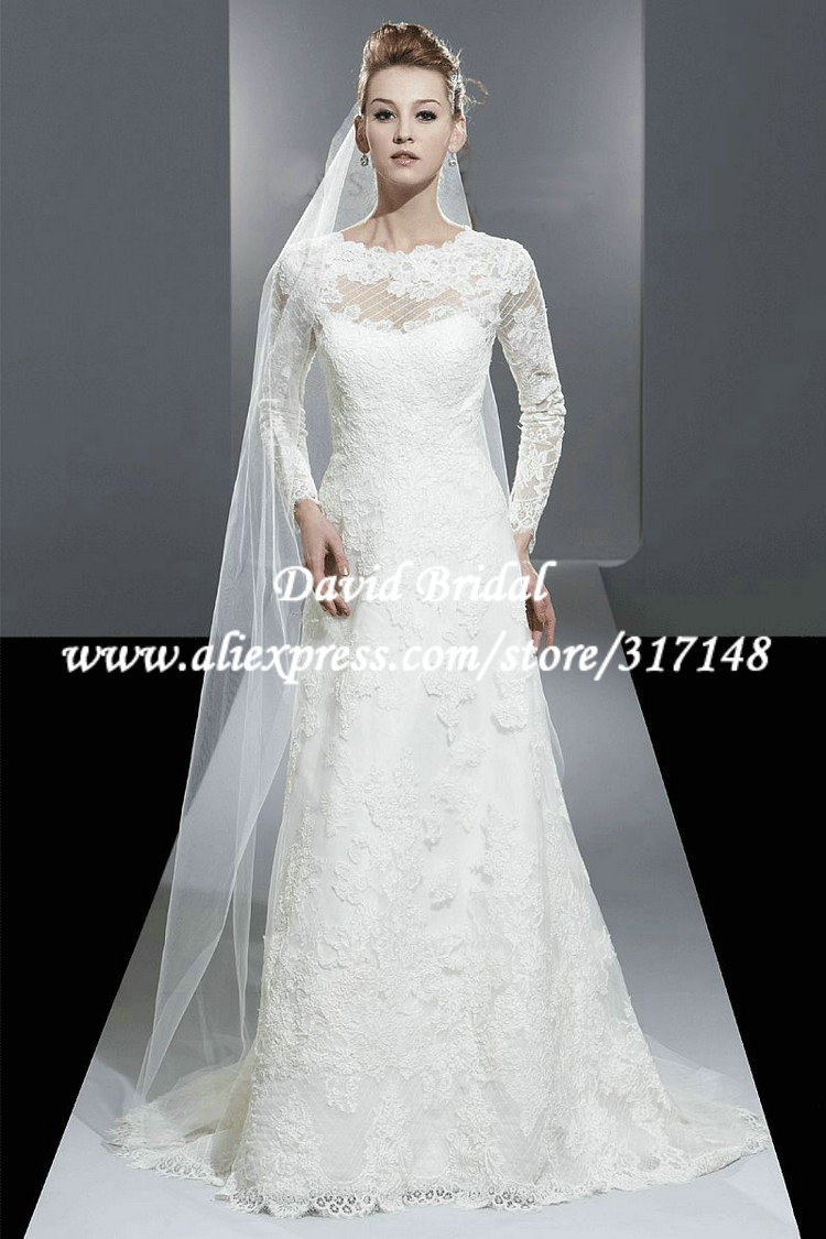 Modest a line vintage lace long sleeve wedding dress for Lace wedding dresses with sleeves kleinfelds
