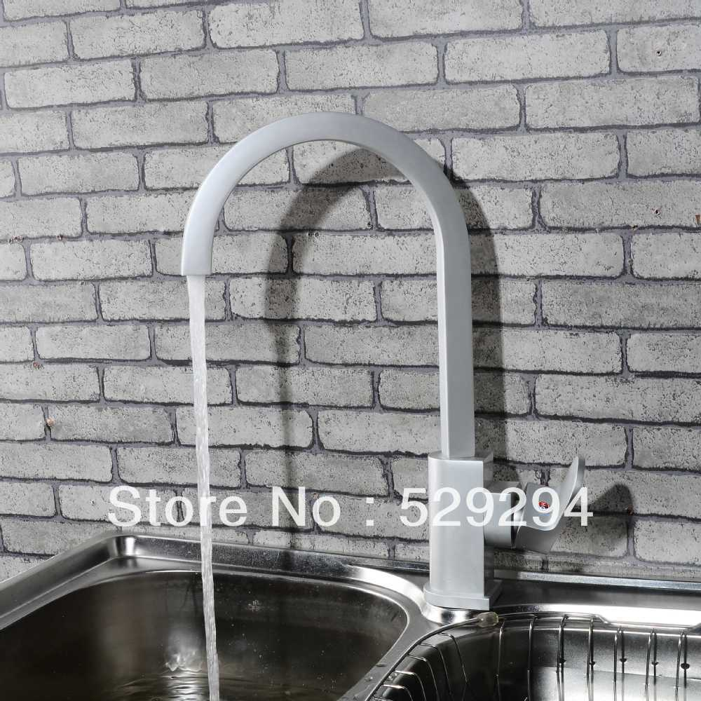 Long neck kitchen faucet - Kitchen Faucet Matte Finished Sink Mixer Bar Water Tap 360 Degree Roating Long Neck