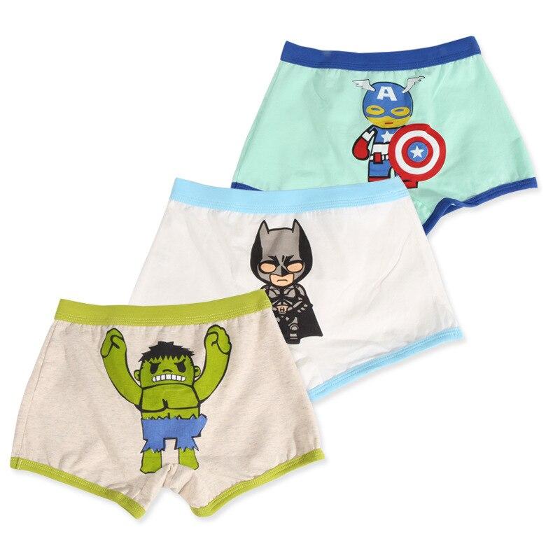3 5pcs Lot Boy Briefs Captain America Ironman Spiderman Hulk Cute Design Kids Briefs Underwear Children Under Panties Size