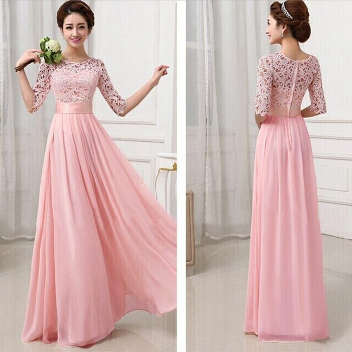Elegant Lace Sleeve Chiffon Womens Long Formal Dress 5