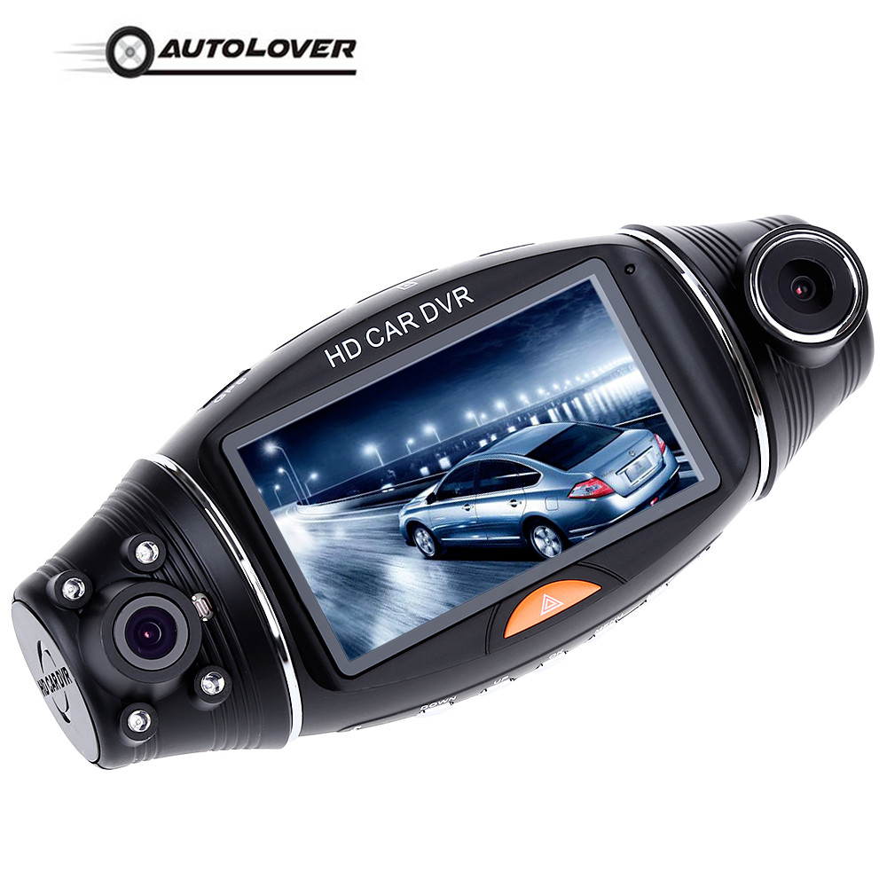 2.7 inch Dual Lens Dash Cam HD Car DVR IR Night Vision Rear View Camera GPS Video Recorder with Speaker R310 270 Degree TFT LCD