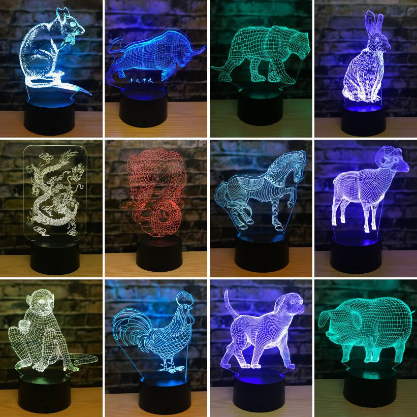Twelve Zodiac Mouse 3d Lamp Tiger Rabbit Dragon Snake 3d Led Lights Horse Sheep Monkey Chicken Dog Pig 3D Night Lights
