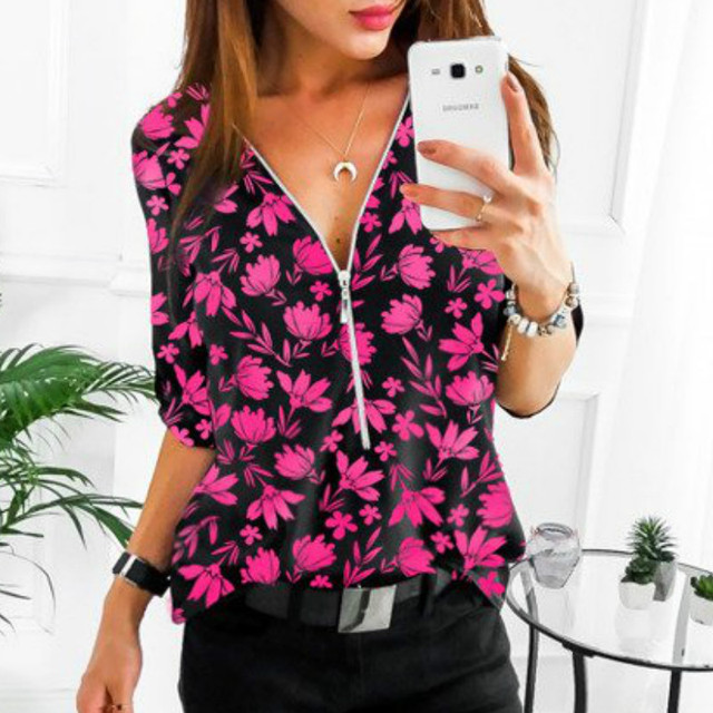 Women Tops Blouses 2019 Autumn Elegant Long Sleeve Print V-Neck Blouse Female Work Zipper Shirts Plus Size Tops 5XL Mujer Blusa 1