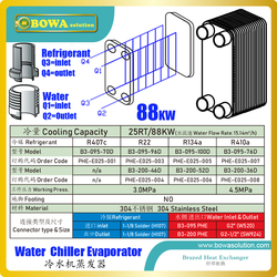 25RT/88kw evaporator of water chiller offer the highest level of thermal efficiency and durability in a compact, low cost unit