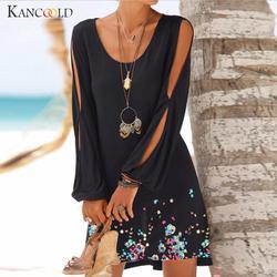 KANCOOLD платье модное женское повседневное с круглым вырезом с принтом на рукаве Платье с принтом Лето пляжный стиль Мини Новое Платье