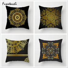 Fuwatacchi Floral Style Printed Cushion Cover Black Gold Throw Pillows Mandala Pillow Cover Decorative Pillowcase for Home Sofa цены