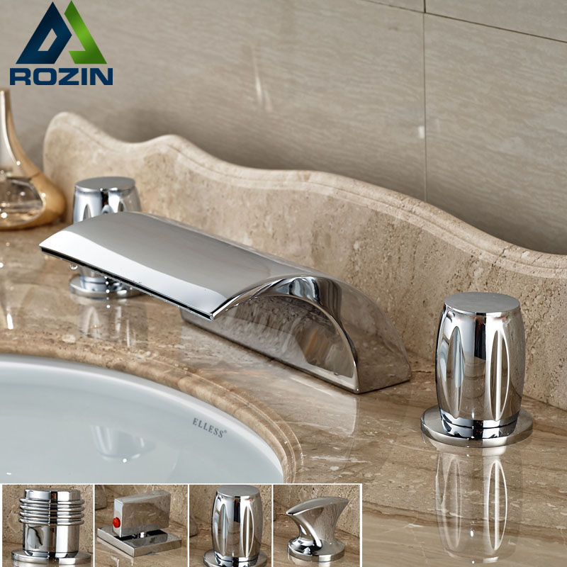 Double Handle Waterfall Curve Spout Basin Faucet Deck Mount Brass Chrome Tub Mixer Taps 3 Handles