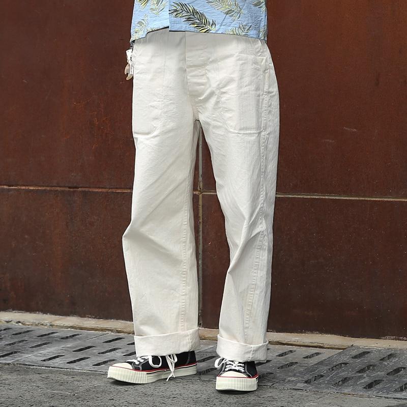 Bronson 40 s USN Deck HBT Fadiga Calças Uniforme de Alta Ascensão das Calças Dos Homens Do Vintage