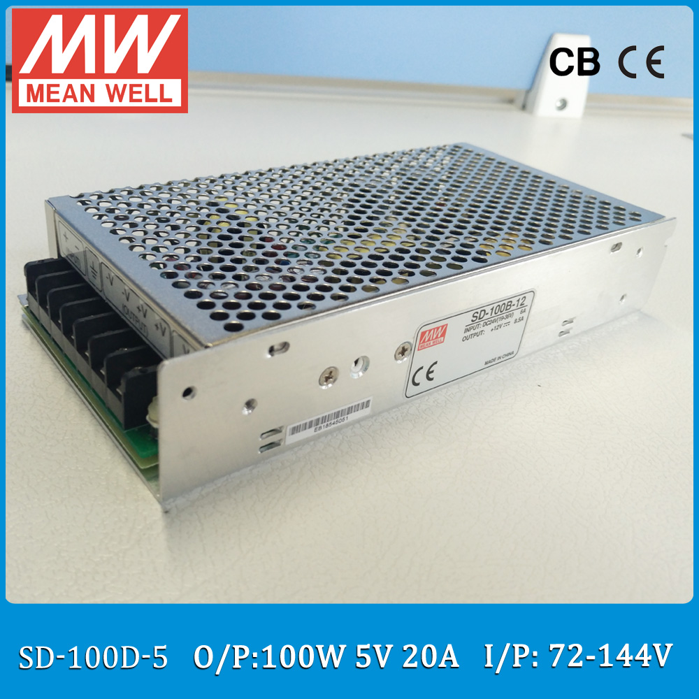 Original MEAN WELL Input 72~144V to output 5V DC-DC converter SD-100D-5 Single Output 100W 20A 5V meanwell dc/dc converter цена