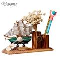 Wood Veneer Sailboat  DIY Mediterranean Style Pen Holder Creative Decoration Sailing Furnishings Solid Wood Educational Toys