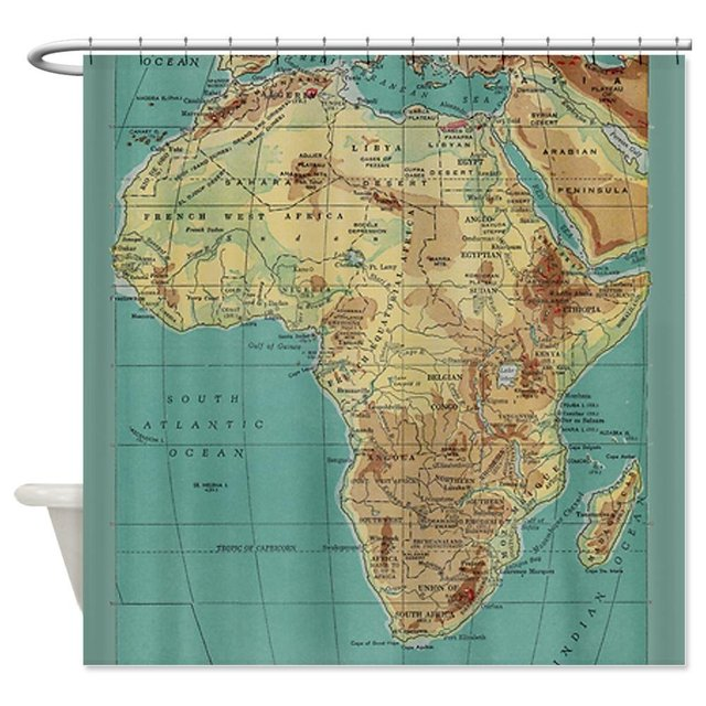 Warm Tour Vintage Map Of Africa Shower Curtain Fabric Polyester
