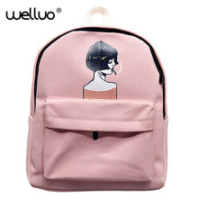Японский мультфильм холст рюкзак Винтаж Street Стиль Рюкзаки Для женщин Школьные сумки простой отдыха и путешествий Плечи Мешок XA15B