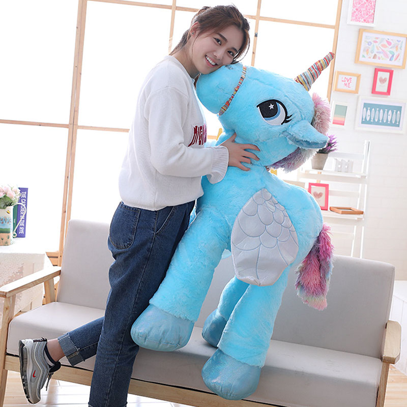 120CM Unicorn Plush Toy Giant  Stuffed Animal Soft Doll Pink White Unicorn Doll Home Decor Kids Toys Birthday Gift For Girl 6pcs plants vs zombies plush toys 30cm plush game toy for children birthday gift