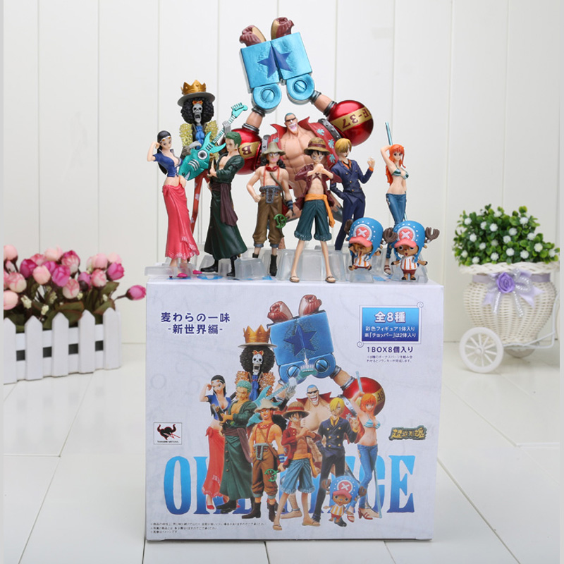 10pcs/set Anime One Piece Action Figures 2 Years Later Luffy Zoro Sanji Usopp Brook Franky Nami Robin Chopper