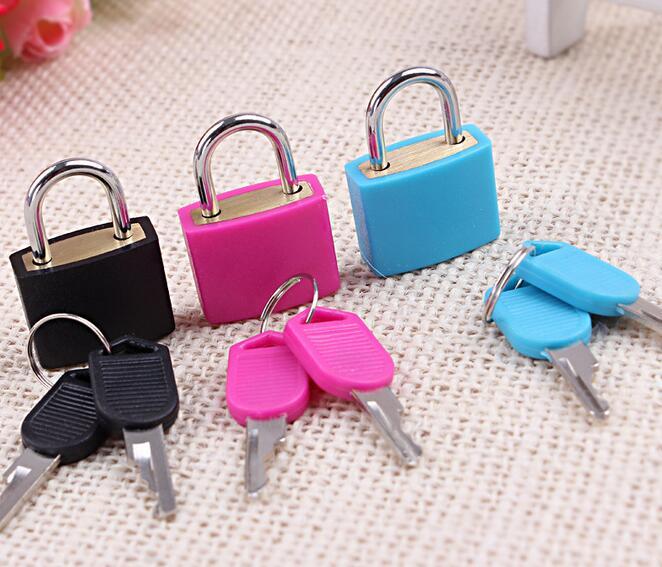 Best Price 2.3cm x 3.4cm Brass 20mm Travel Luggage Suitcase Laptop Bag Padlock Lock With Two Keys Kit Set 4 Colors
