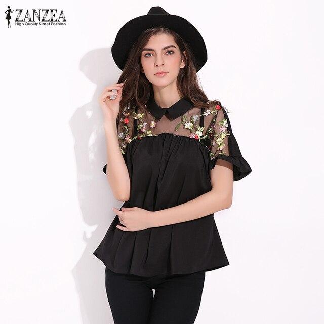 3822d7a1af 2017 ZANZEA Verão Mulheres Blusas Camisas Do Vintage Da Moda Bordado Floral  Blusas Sexy Malha Patchwork