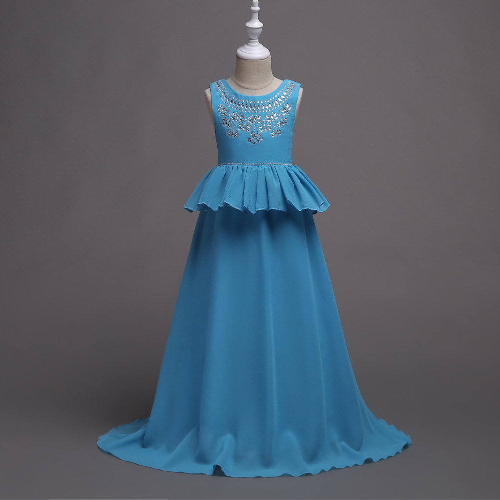 Kids Princess Red Navy Blue Purple Pageant Wedding Gown Big Girls ...