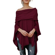 ZOGAA Women Irregular Cloak Ladies Casual One-line Collar Off-the-shoulder Female Solid Outwear 2019 NEW