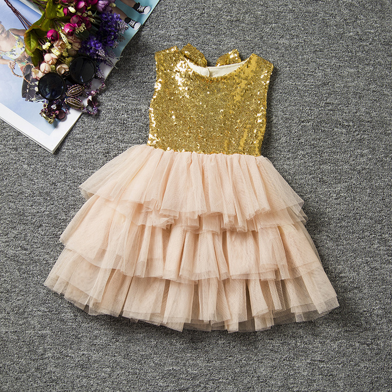 0-2Y Girls Gold Infant Dress Kids Princess Dresses Summer Sequins Tutu Party Dress Baby Girl Clothes Toddler Bow Formal Clothing summer style girl dress cotton baby dress hollow out girls clothing infant princess dress baby girl clothes kids dresses 3 11