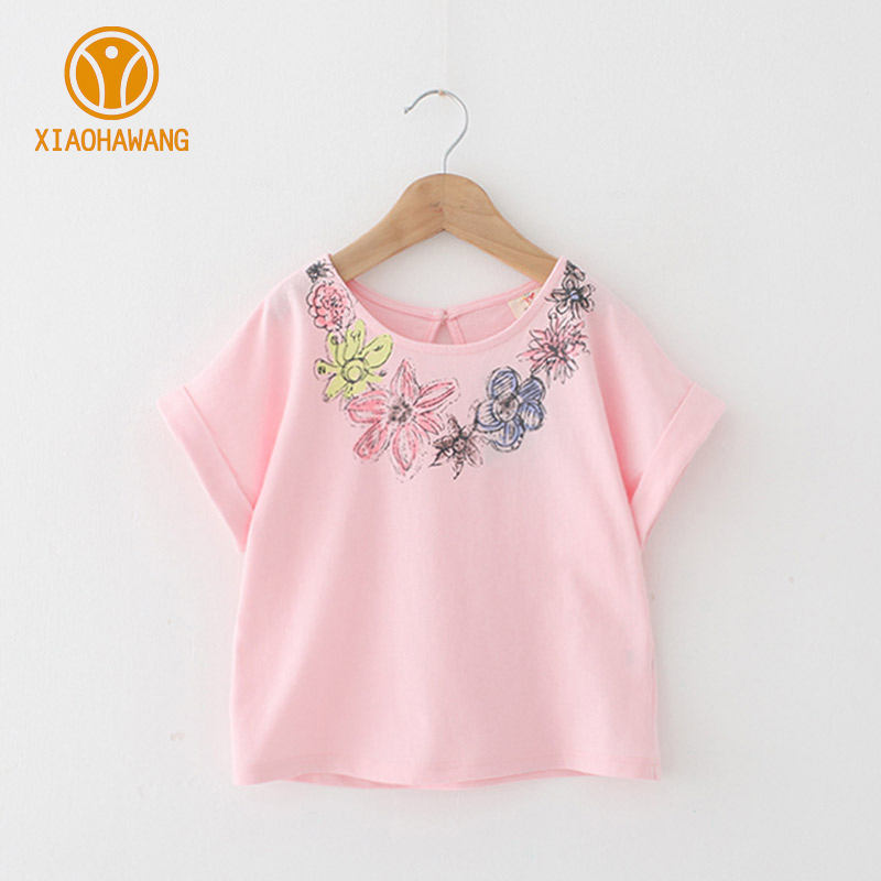 Hot Girls T-Shirts Flower Cotton Girls T Shirts Summer Short Sleeve Kids Top Clothes Floral Girl T-Shirts 2018 Girls Clothing baby girls fall boutique clothing girls time to be a unicorn raglans girl top t shirts children clothes hot pink sleeve raglans