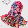 Novas mulheres Primavera 2017 mulheres de seda real lenço de seda cachecóis xale dupla longo cachecóis estilo Chinês Impresso cachecóis