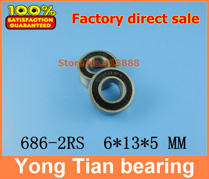 50pcs free shipping The Rubber sealing cover  Thin wall deep groove ball bearings 686-2RS 6*13*5 mm free shipping 10pcs 6900 2rs 6900 2rs 10 22 6mm 61900 2rs the rubber sealing cover thin bearings 6900 rs 10x22x6mm for bicycle
