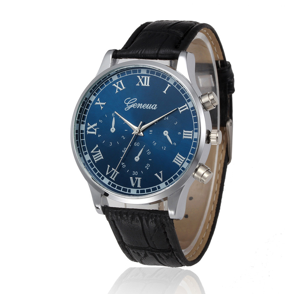 GENEVA Roman Numerals Dial Watches Men Top Brand PU Leather Band Alloy Quartz Wrist Watch Mens Luxury Business Watches #Zer watch for womens is classic look ladies metal case golden dial leather analog quartz fashion geneva roman numerals watches